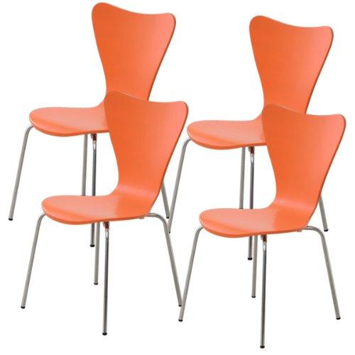おしゃれでシンプル!ダイニングチェア オレンジ 4脚セット(カジュアルなデザイナーズチェア) B06WRNRHQ1 チェア4脚セット|オレンジ オレンジ チェア4脚セット