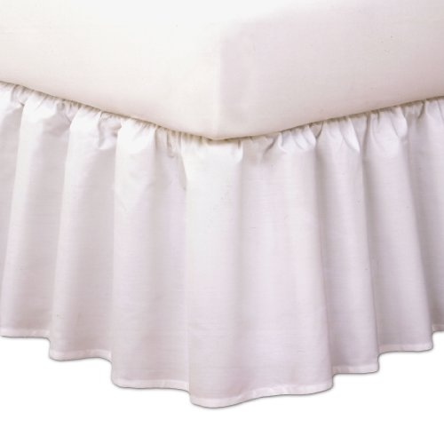"Magic Skirt Ruffled Bedskirt, Never Lift Your Mattress, Classic 14"" drop length, Gathered Ruffle Styling, King, White (King Traditional Bed)"