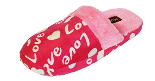 montants avec femme Mule Chaussons cœur en Rose rose de A18 en Pantoufle doublure Coolers polaire polaire forme Motif Fw5Sq