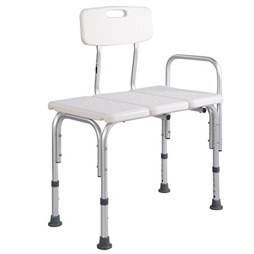 Bath Bench, Gentleshower 10 Height Adjustable Bath Seat Stool Shower Chair with Back and Armrest, Bathroom Bath Tub Transfer Bench by GentleShower