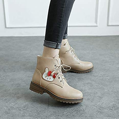 Shukun Botines Martin Boots Girls Winter Big Size Cute Cute Rabbit Womens Shoes Cotton Warm Students