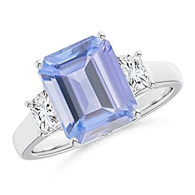 Angara Emerald-Cut Tanzanite and Trapezoid Diamond Three Stone Ring Platinum yxV0iRS