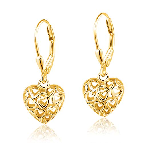 S925 Sterling Silver Stud Dangle Drop Heart Earrings for Women Girl Plated Gold (Heart Chandelier Earrings)
