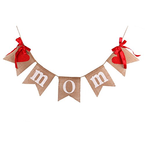 GOER Mother's Day Banner,No DIY Required Natural Burlap Mother's Day -