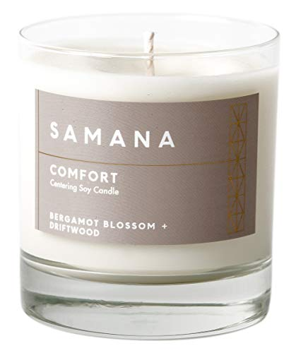 SAMANA Comfort Centering Soy Candle, Bergamot Blossom & Driftwood, 100% Natural, 9.5 oz, 40 hr Burn Time
