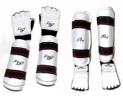 Taekwondo Gear Forearm Gard Hand Gloves Shin Instep Protector Complete New Set (S) ()