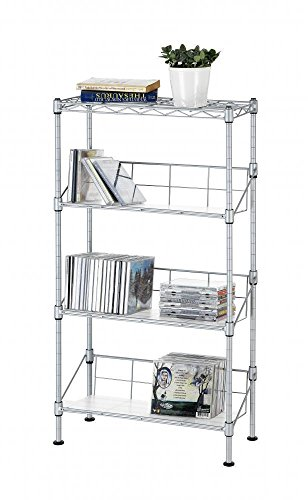 Silver 4-Tier Media CD Rack Stand Racks Organizer