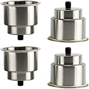 YaeMarine 4pcs Recessed Stainless Steel Cup Drink Holder with Drain for Boat Marine Camper RV Counter Top