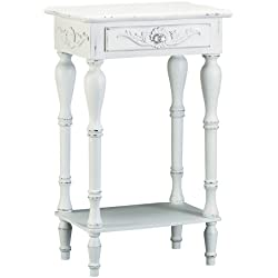 VERDUGO GIFT Sunshine Megastore Carved White Side Table