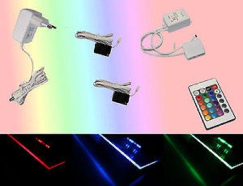 2er Set Glaskantenbeleuchtung RGB LED Farbwechsel Trango TG5022-02