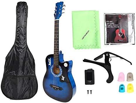 アコースティックギターキット、ブルーバスウッドビギナーギター、チューナー付きクラシックフォークギター、キャリーバッグ、ストリング、親指ストール、カーポ、クリーニングクロス、初心者向け、子供、大人、ギター愛好家