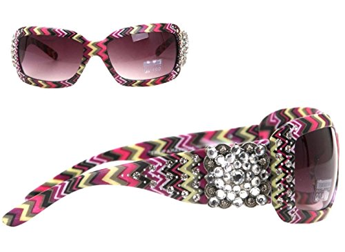 Montana West Square Concho with Aztec Print Sunglasses (Multi/Zig, ()
