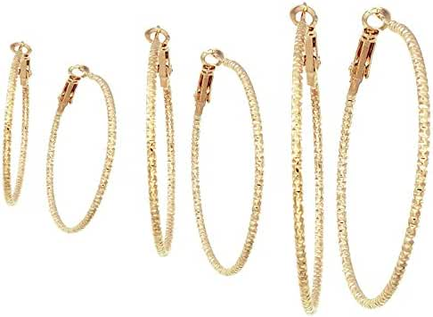 Silver And Gold Plate Hoop Earrings Set For Women Teen Jewelry Diamond Cut 3 Pairs Gold And Luster