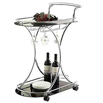 Serving Cart with 2 Glass Shelves Chrome and Black