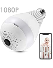 Vanxse ® CCTV Light Bulb Security Camera, WiFi IP Wireless Home Surveillance System, Pet Baby Monitor, lamp Cam, 1080P HD 360° Fisheye Panoramic Lens with Night Vision Motion Detection Two-Way-Talk
