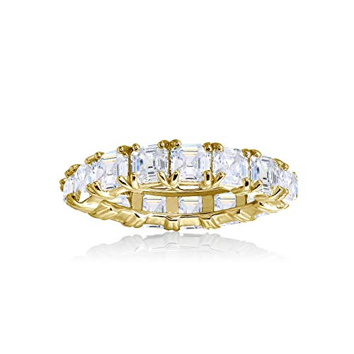 Yellow Gold Flashed Sterling Silver Cubic Zirconia 4mm Octagon Asscher-Cut Anniversary Eternity Band Ring, Size 7
