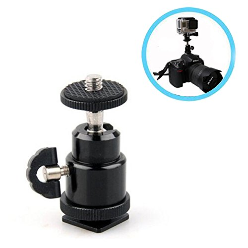 Hot Shoe Mount Adapter, Walway 360 Degree 1/4 Screw Swivel Mini Ball Head Cradle Adapter for DSLR Camera/Camcorder/ Microphone/Video Monitor/LED Video Light