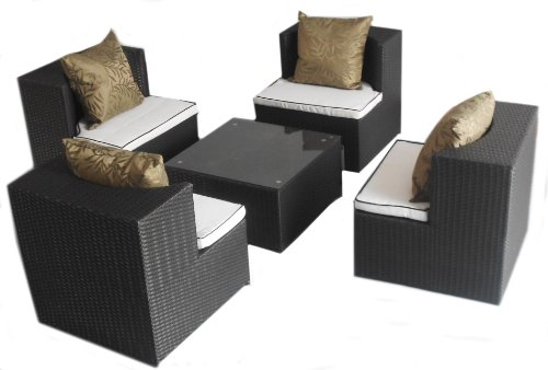 Deeco DM-GC-504 Art-Deck-Oh Geo Cube Interlocking All Weather Wicker Furniture Set