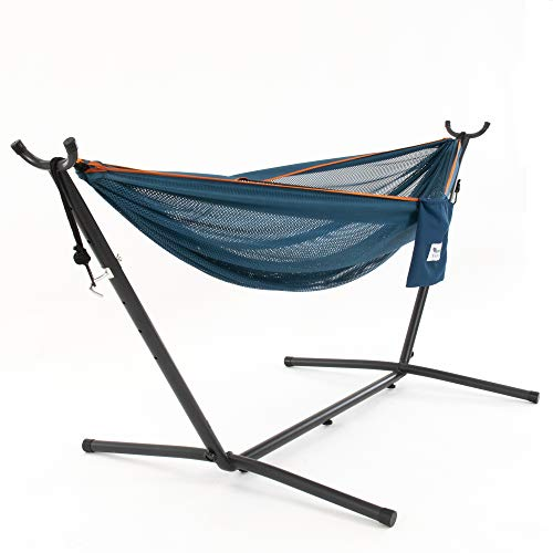 Vivere Double Mesh Hammock with Space Saving Steel Stand, Blue/Orange (450 lb Capacity - Premium Carry Bag Included)