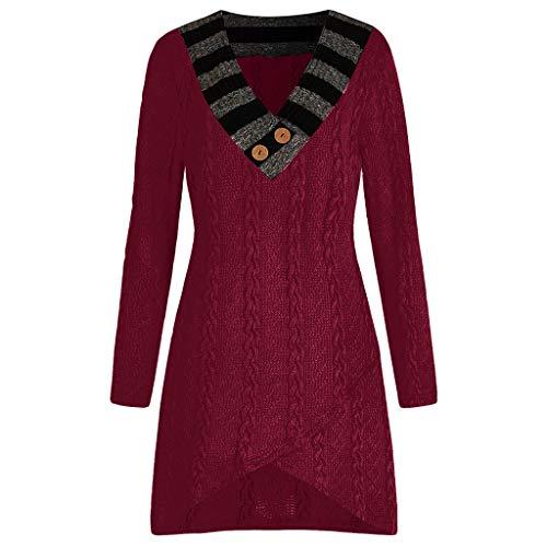 AOJIAN Blouse Women Long Sleeve T Shirt Knitted V-Neck Plus Size Sweater Tees Tank Shirts Tops Wine