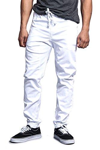 Victorious Mens Drop Crotch Jogger Twill Pants JG804 - White - Medium (White Cargo Pants)