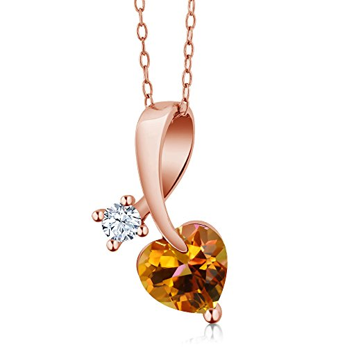 Gem Stone King 1.41 Ct Twilight Orange Mystic Topaz 18K Rose Gold Plated Silver Pendant