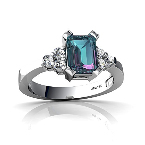 Lab Created Alexandrite Ring - 14kt White Gold Lab Alexandrite and Diamond 7x5mm Emerald_Cut Simply Elegant Ring - Size 7