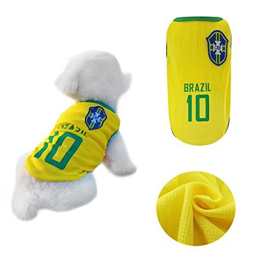 Yizhi Miaow Dog Soccer Jersey World Cup Pet T-Shirt-Dog Costume to Celebrate The Russia 2018 FIFA Brazil Team Dog/Cat Shirt Jerseys Size L for Small Dogs Schnauzer ()