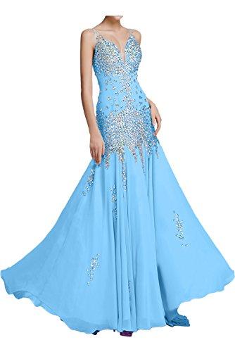 Blau Chiffon Abendkleid V Partykleid zwei Traeger Steine Ausschnitt Bodenlang Festkleid Meerjungfrau Ballkleid Elegant mit Ivydressing aermellos P5twqZx
