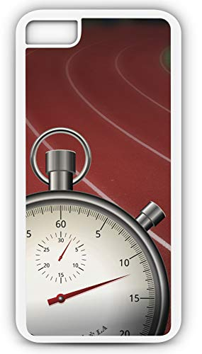 (iPhone 8 Plus 8+ Case Track and Field Lanes Stopwatch Time Race Games Sport Jogging Customizable by TYD Designs in White Plastic Black Rubber Tough Case)