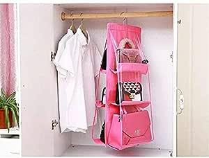 حقيبة يد معلقة منظمة مقاومة للغبار وحامل تخزين حقيبة خزانة لخزانة الملابس مع 6 جيوب أكبر - لون وردي