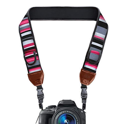 Pattern Accessories (TrueSHOT Camera Strap with Pink Stripe Neoprene Pattern and Accessory Storage Pockets by USA Gear - Works With Canon , Fujifilm , Nikon , Sony and More DSLR , Mirrorless , Instant Cameras)