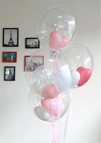 5PCS 24 Inches Clear Foil Helium Transparent Balloons for Kids , Adult Birthday, Wedding , Reception, Baby Shower or Any Celebration