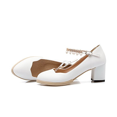 VogueZone009 Women's Pointed Closed Toe Kitten-Heels Soft Material Solid Buckle Pumps-Shoes White PnQbJQf