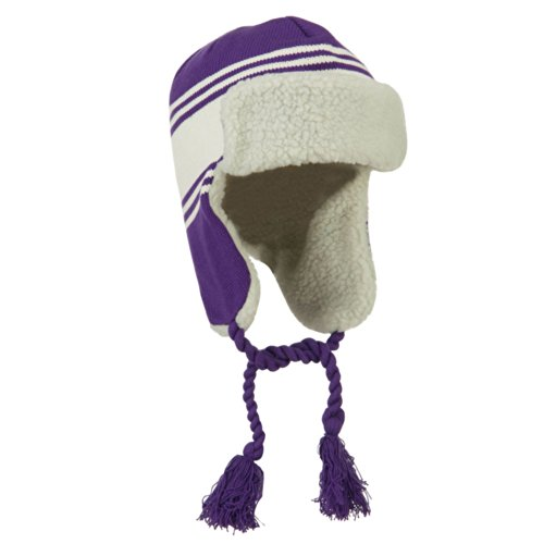 Contrast Jacquard Striped Knit Ski Hat - Purple White OSFM