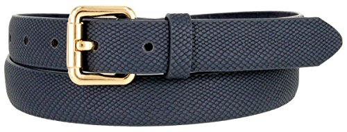 (Skinny Women's Snakeskin Embossed Leather Casual Dress Fashion Belt (Navy, Large))