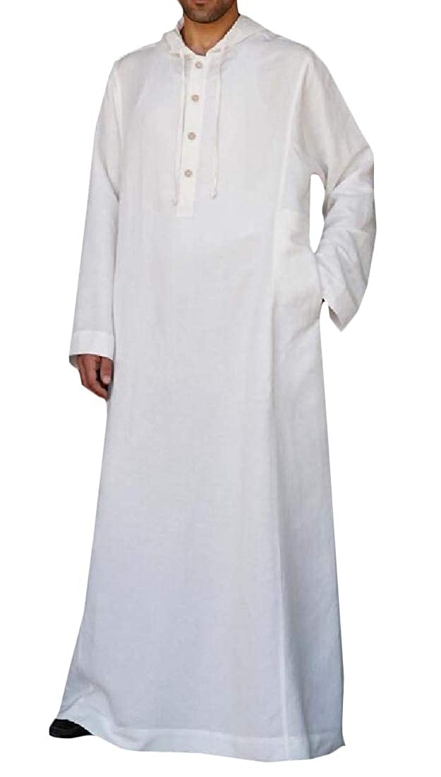 Pandapang Mens Button Up Casual Hooded Turkey Muslim Long Sleeve Plus Size Shirt