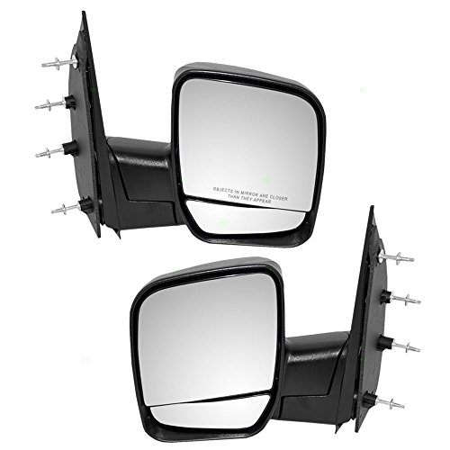 (Driver and Passenger Manual Side View Mirrors Dual Glass Paddle Type Replacement for Ford Van 3C2Z17683FAA)