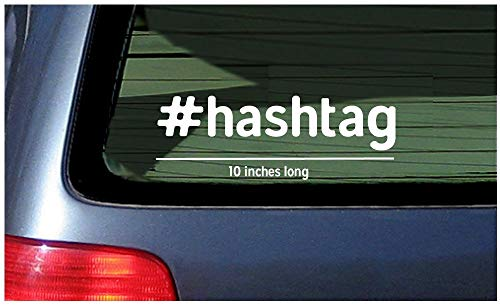 (Hashtag Words Sticker Window Decal Vinyl Cut Customized Personalized Wording Link Your Social Media Hash Tag Text Custom Lettering)