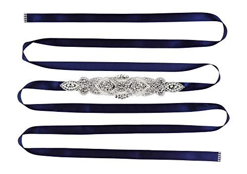 (Mandala Crafts Bridal Sash Belt with Crystal Rhinestone Satin Ribbon for Wedding Gowns, Prom, Formal Dresses for Women (Rhinestone Faux Pearl, Navy Blue))