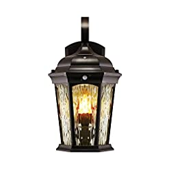Garden and Outdoor Euri Lighting EFL-130W-MD Flickering Flame Lantern, Water Glass, with Integrated Security Light (3000K), Photocell and… outdoor lighting