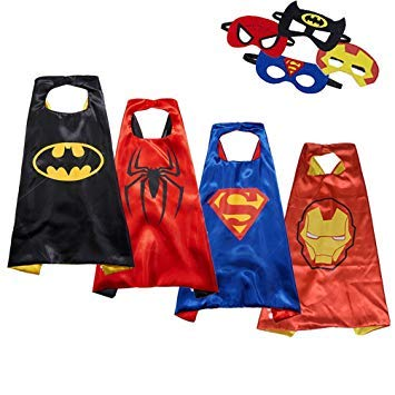 Reversible Comics Cartoon Hero Dress up Satin Capes with Felt Mask -4 Costume Sets for Kids with Bonus Stickers and Tattoo
