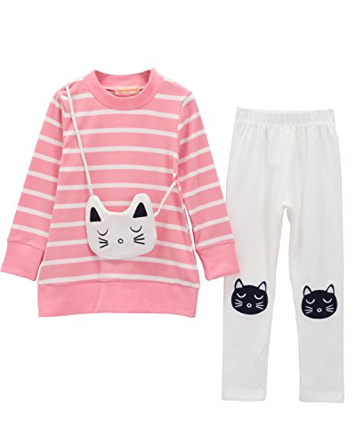 Toddler Kids Little Girls 2PCS Winter Outfits Shirt Pants Clothes Sets(Pink,5T,120) , Kitty Pink , #120(5-6Years)