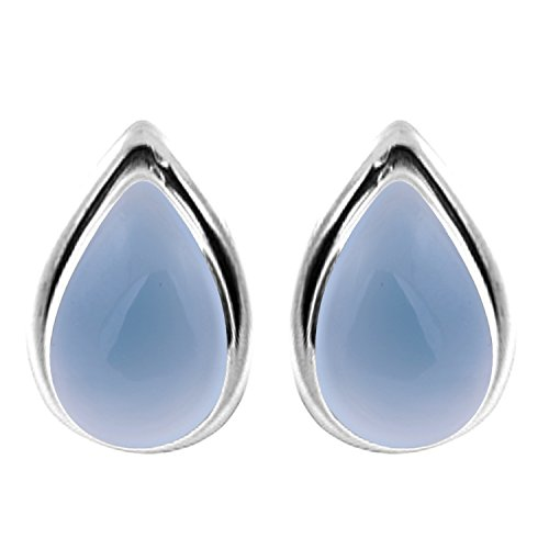 3.10ctw, 6x9mm Pear Genuine Chalcedony & 925 Silver Plated Stud Earrings