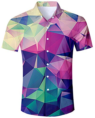 ALISISTER XL Hawaiian Shirt Mens Tropical Button Down Shirts 3D Printed Coloful Blouses Short Sleeve Dress Shirts Holiday Vacation Clothes]()