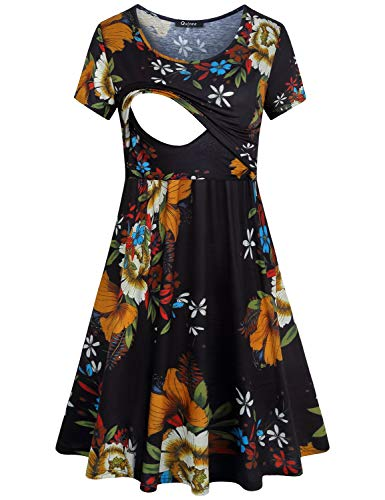Quinee Breastfeeding Dress Women,Ladies Floral Print Short Sleeve Double Layers Summer Maternity Dresses for Special Occasions Cotton Mid Length Contrast Color Designer Pregnancy Clothes Black M