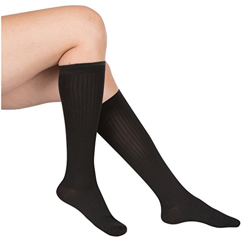 EvoNation Womens USA Made Graduated Compression Socks 20-30 mmHg Firm Pressure Medical Quality Ladies Knee High Support Stockings Hose - Best Comfort Fit, Circulation, Travel (Large, Black)