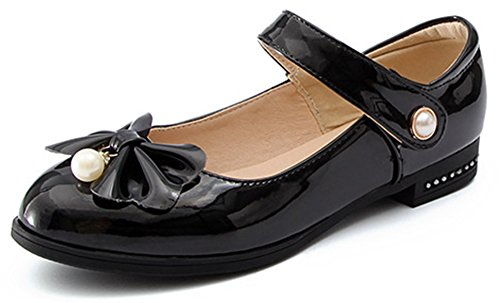 IDIFU Womens Fashion Bows Hook-and-Loop Chunky Low Heel Round Toe Pumps Shoes With Pearl Black tSO0em8u