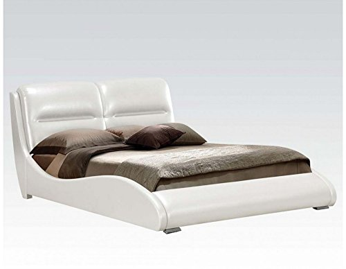 ACME Romney White Faux Leather Queen Bed - Acme Leather Bed