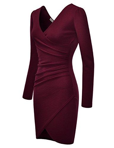 NEARKIN Womens Figure Hugging Waffle Fabric Asymmetry Shirr Midi Dress